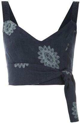 Martha Medeiros Karen Greta embroidered crop top