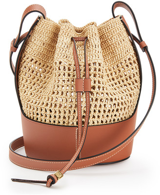 Loewe Small Balloon Leather-Trimmed Raffia Shoulder Bag