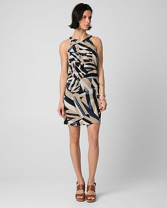 Le Château Abstract Print Crepe Halter Dress