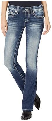 Miss Me Feather Wing Bootcut Jeans in Dark Blue (Dark Blue) Women's Jeans