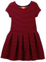 Joe Fresh Striped Pleated Short Sleeve Dress (Toddler & Little Girls)