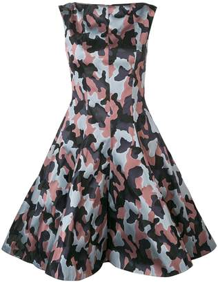 Talbot Runhof jacquard camouflage pattern dress