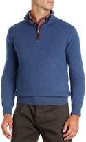 Isaia Half-Zip Cashmere Sweater with Suede Trim