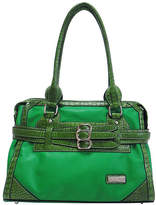 Dasein Green Croc-Embossed Belted Tote