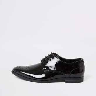 River Island Boys black patent pointed toe shoes