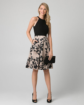 Le Château Floral Print Satin Halter Cocktail Dress