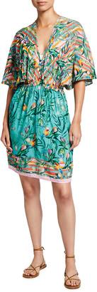 Johnny Was Taina Dolman-Sleeve Swim Coverup Dress