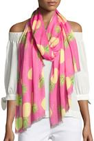 Neiman Marcus Pineapple Scattered Scarf, Pink/Green