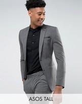 Asos Tall Super Skinny Suit Jacket In Salt & Pepper