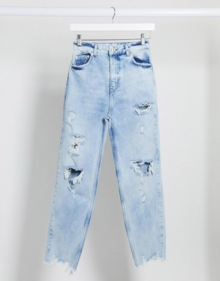Bershka ripped mom jean in blue