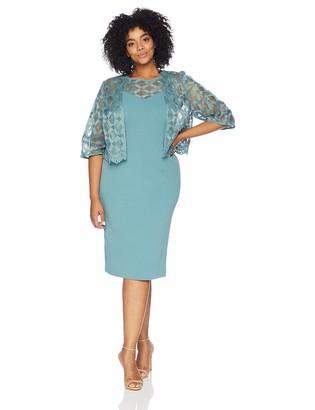 Maya Brooke Women's Plus Size Cross Laced Detailed Dress with Jacket