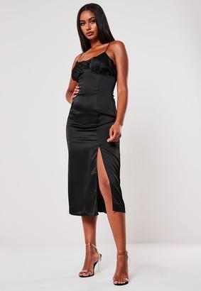 Missguided Black Satin Lace Insert Midi Dress