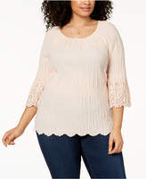 Style&Co. Style & Co Plus Size Cotton Eyelet-Trim Top, Created for Macy's