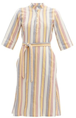 A.P.C. Oleson Striped Cotton Crepe Dress - Womens - Ivory Multi