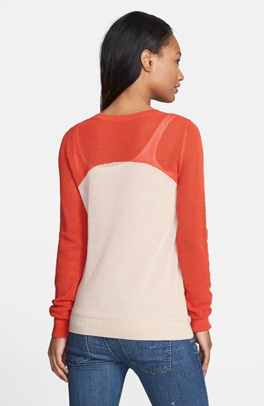 Halogen Colorblock Open Stitch Crewneck Top