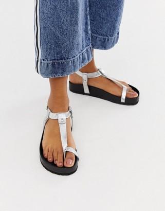 Asos Design DESIGN Filmore premium leather minimal footbed toe loop sandals-Silver