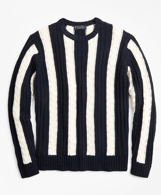 Brooks Brothers Vertical Stripe Cable Crewneck Sweater