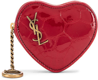 Saint Laurent Heart Pouch Key Ring in Rouge Eros | FWRD