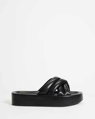 Therapy Women's Black Flat Sandals - Heir - Size 6 at The Iconic