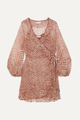 Cloe Cassandro - Kimi Ruffled Zebra-print Silk-crepon Wrap Mini Dress - Neutral