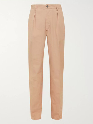 Drakes Pleated Cotton Suit Trousers