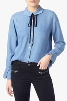 7 For All Mankind Scalloped Denim Shirt With Bow Tie Blue Haven