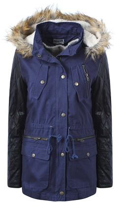 Juicy Trendz Juicytrendz Women's Ladies Parka Jacket Faux Fur Lining Winter Hooded Coat Outerwear Navy