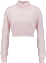 Balmain Cropped angora-blend turtleneck sweater