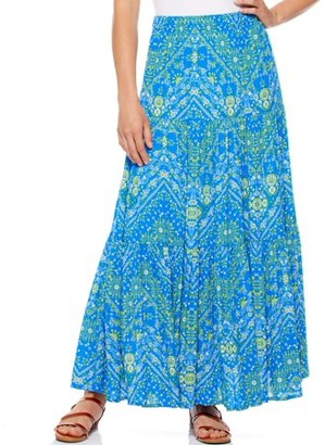 Scoop Women's Printed Tiered Maxi Skirt