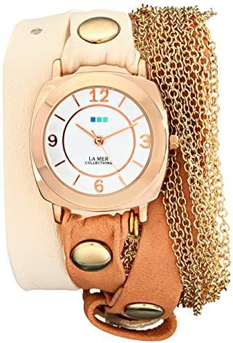 La Mer Women's LMMULTICW2000 Rose Gold Watch with Leather/Chain Wrap Band