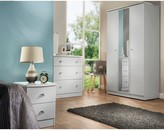 Swift Verve Ready Assembled 4 Piece Package - 4 Door Mirrored Wardrobe, 5 Drawer Chest and 2 Bedside Chests