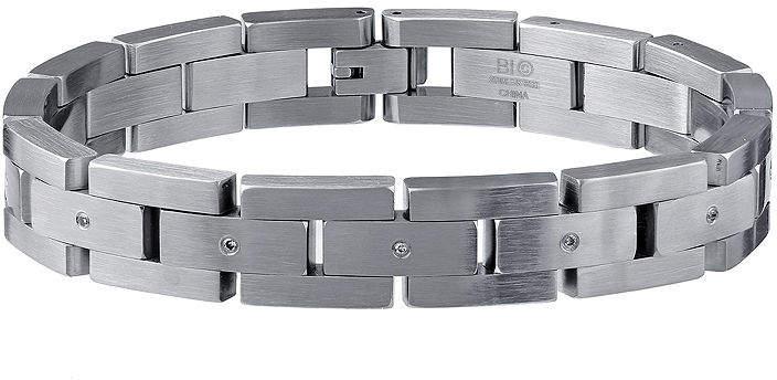 JCPenney FINE JEWELRY Mens 1/10 CT. T.W. Diamond Stainless Steel Bracelet