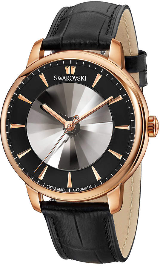 Swarovski Atlantis Limited Edition Automatic Men's Watch, Leather strap, Black, Rose gold tone
