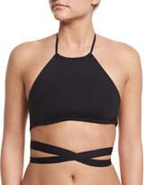 L Space Swimwear by Monica Wise Lizzie Free Spirit Wrap-Around Solid Swim Top