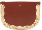 A.P.C. Half Moon Raffia-trimmed Smooth-leather Pouch - Womens - Tan Multi