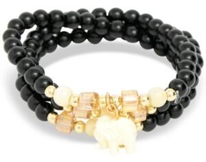 Zenzii Gold-Tone Elephant Charm Beaded Multi-Row Bracelet