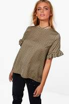 boohoo Ella Woven Check Ruffle Sleeve Swing Top yellow