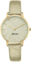 Nine West Women's Glitter Gold-Tone Imitation Leather Strap Watch 36mm NW-1958CHGD