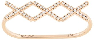 Alinka 18kt rose gold KATIA TRIO diamond two-finger ring