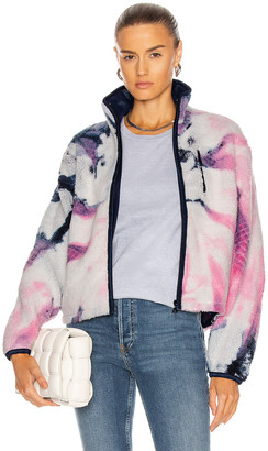 John Elliott Tie Dye Polar Fleece Zip Up in Pink & Navy | FWRD