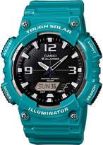 Casio Mens Black Dial Teal Resin Strap Solar Sport Watch AQ-S810WC-3A