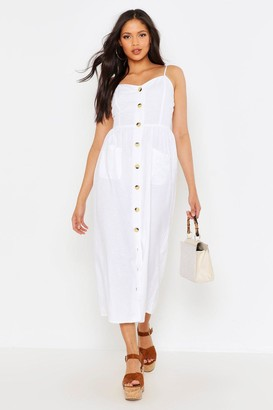 boohoo Tall Button Through Linen Midi Dress