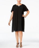 MSK Plus Size Flutter-Sleeve Chiffon Shift Dress