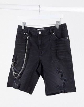 ASOS DESIGN skinny denim shorts in washed black with chain