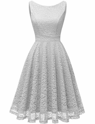bbonlinedress Women's Short Vintage Floral Lace Swing Dress V-Back Sleeveless Formal Cocktail Party Dress Mint M
