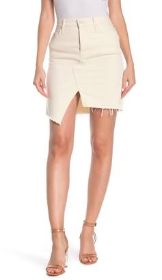 Mother Tomcat Slide Fray Denim Mini Skirt