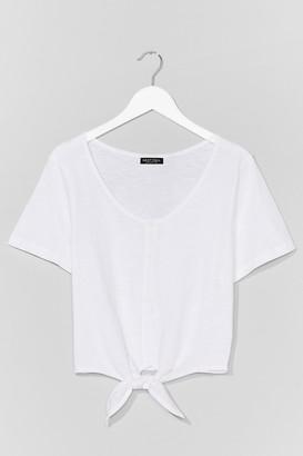 Nasty Gal Womens Tie Front Crop Tee - White - S