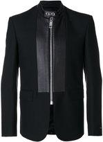 Les Hommes panelled zipped blazer - men - Lamb Skin/Polyester/Spandex/Elastane/Wool - 50