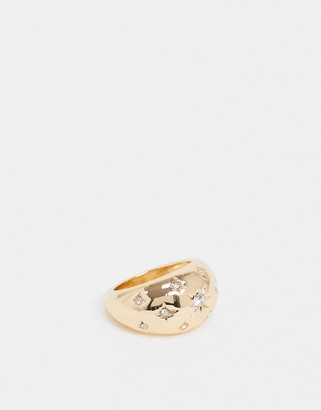 ASOS DESIGN domed ring with crystal stars in gold tone
