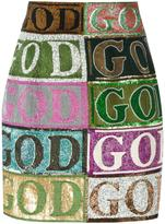 Olympia Le-Tan embellished God mini skirt